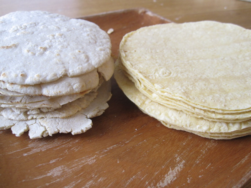 Homemade tortillas on the left, store bought on the right