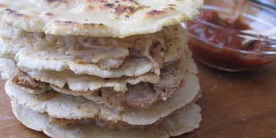 Bean and cheese quesadillas made with homemade corn tortillas