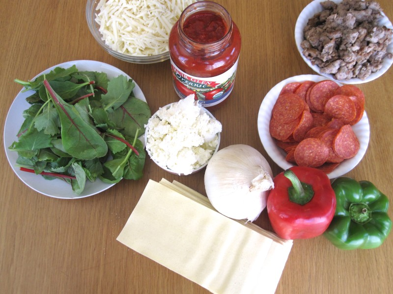Ingredients for Pizza Supreme Lasagna - Cook It Fresh