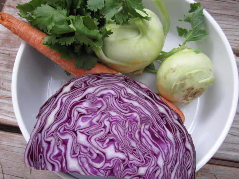 Ingredients for Kohlrabi and Red Cabbage Slaw - Cook It Fresh