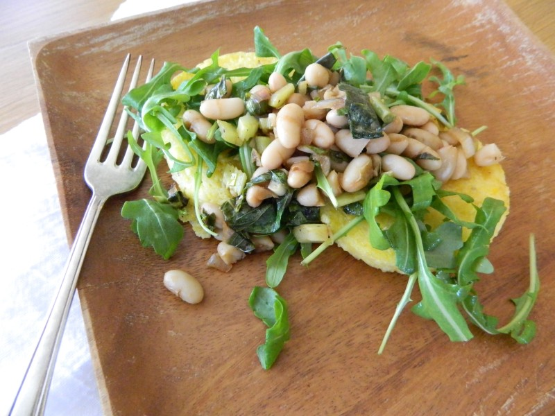 Seared Polenta with White Bean Balsamic Saute - cookitfresh.com